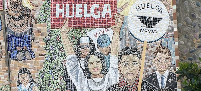 Mosaic featuring Cesar Chavez from the Our Lady of Guadalupe Church