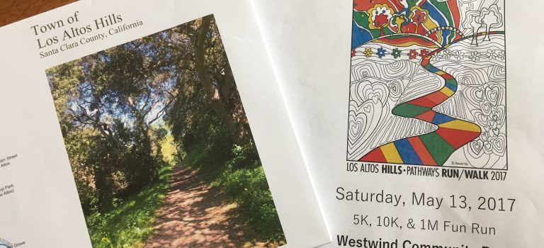 Los Altos Hills pathways map and flyer for the 16th pathways run