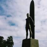 Surfing sculpture in Santa Cruz