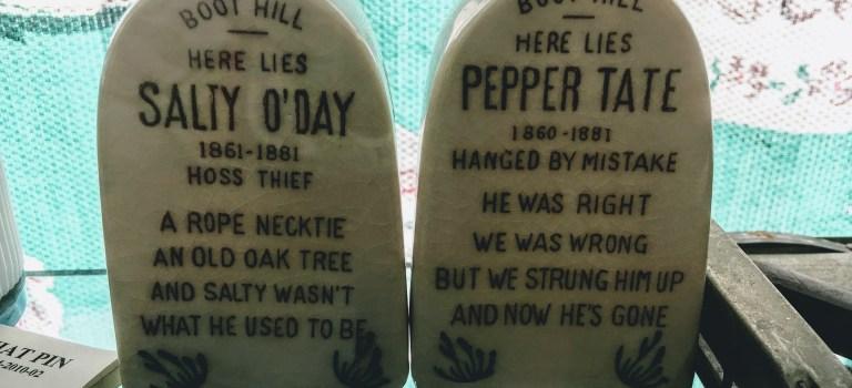 Gravestone salt and pepper shaker