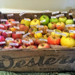 One of the three apple crates in the entrance hall at Filoli's in Woodside.