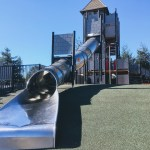 Longest metal slide in Northern California at the Magic Mountain playground in San Mateo.