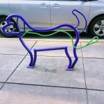 Dog bike rack in downtown Los Altos.