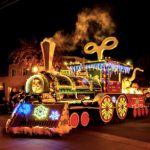 Train decorated with lights at the Festival of Lights Parade, Los Altos.