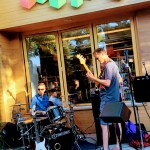 Band playing in front of Linden Tree bookstore, Los Altos.