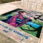 Chalk art mural in J-town, San Jose.
