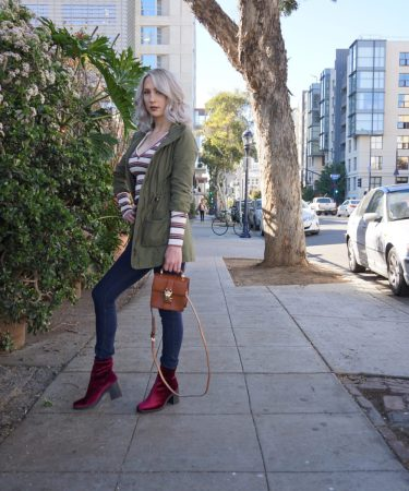 A Lesson in Layering: Stripes, Cargo Jackets & Velvet Boots