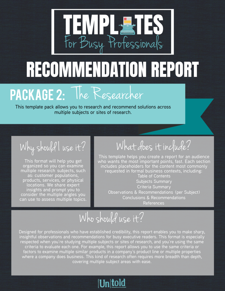 Recommendation Report Template