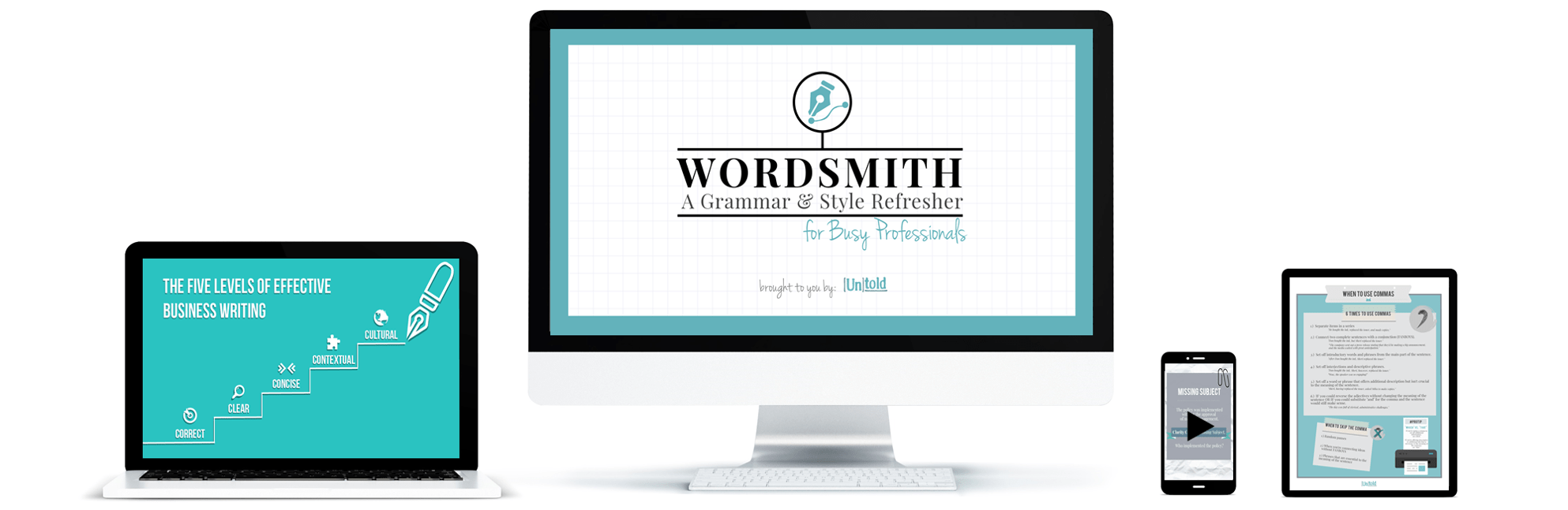 Online Writing Course, Wordsmith Grammar and Style Professional Writing Training. The online training course features infographics, video case studies, worksheets, cheatsheets, and professionally designed slides.