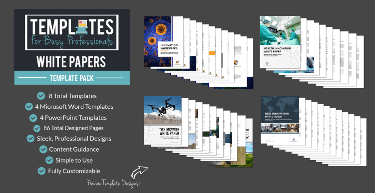 white paper template pack features: word templates, powerpoint templates, easy to use, customizable, professionally designed
