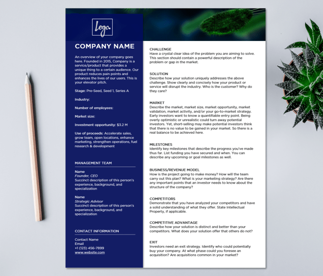 startup one pager template for investors - Microsoft word