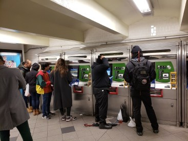 Automatic ticket machines take cash and credit card
