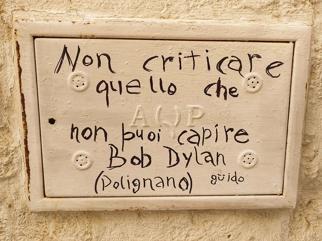 Polignano a Mare versi di Bob Dylan