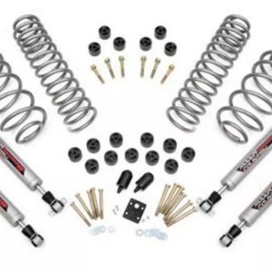 Lift Kit Rough Country 3.75 in. Lift Combo Kit w Shocks untuk Jeep Wrangler TJ