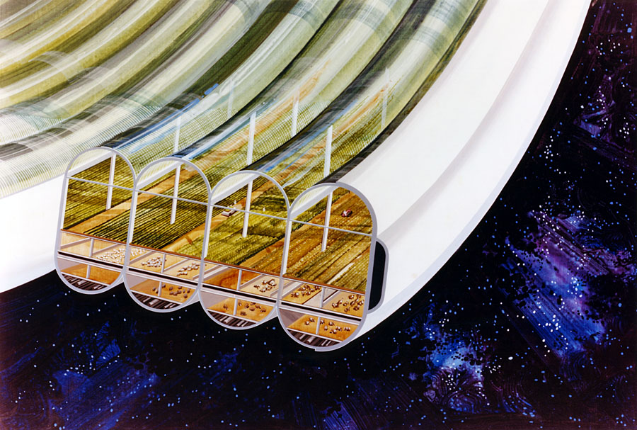 Agricultural modules in cutaway view