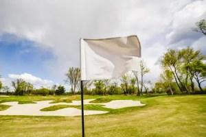 white golf flag