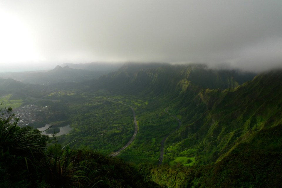 The view to the south. You can see the three peaks of Mt. Olomana on the left. Image credit: unrealhawaii.com