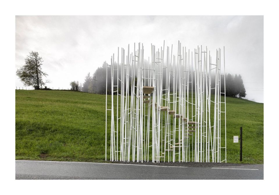 "Sou Fujimoto, Japan: ""Everyone may climb the tower-like bus stop to enjoy panoramic views of Krumbach. A transparent forest of columns can create interesting scenery in a site surrounded by nature."" (Photo: Adolf Bereuter/BUS:STOP Krumbach)"
