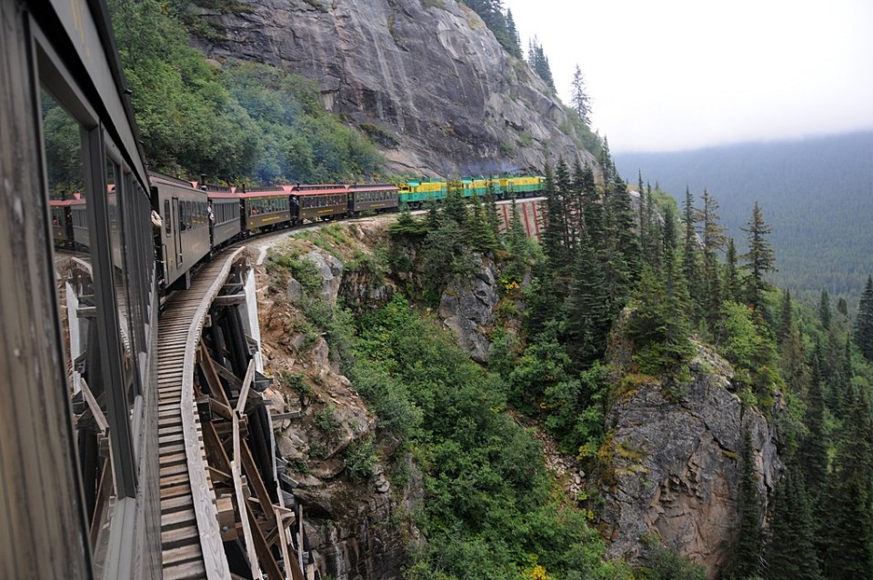 Just past mile marker 18.8 on White Pass & Yukon Route railroad, dropping from White Pass towards Skagway, Alaska. Photo by  Matthew Wild/Flickr
