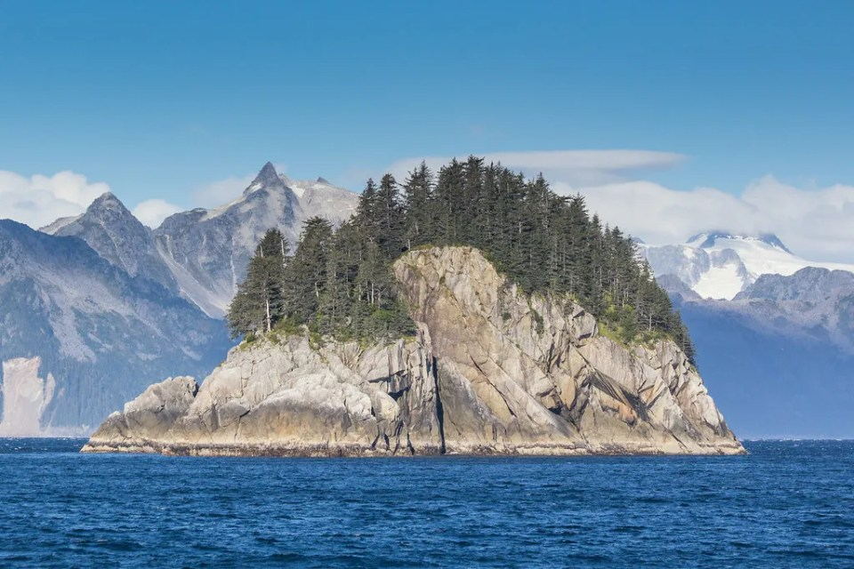 Kenai Fjords cruise out of Seaward, Alaska. One of the rocky islands at the entrance to Aialik Bay