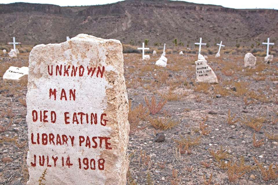 """The grave of """"Unknown Man Died Eating Library Paste"""""""