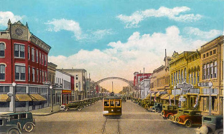 Вид на север на Коммершл-авеню, Каир, Иллинойс, 1929 год.