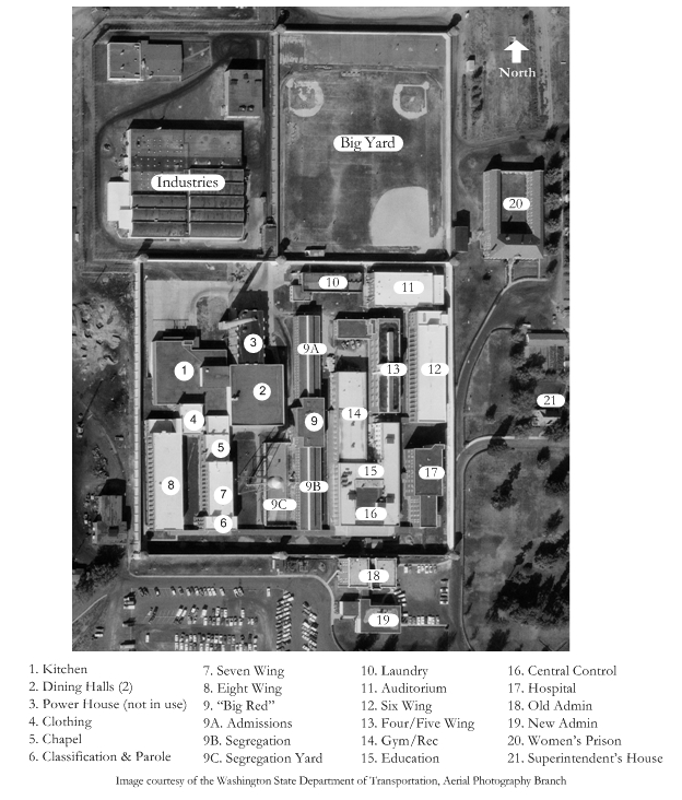 Site plan of the Washington State Penitentiary in 1970 with key to major buildings