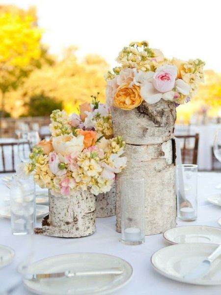 Table setting with birch vases