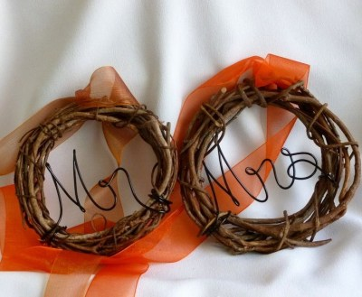 Mr & Mrs mini wreaths