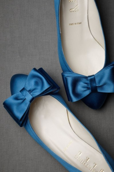 Blue flats with Bow