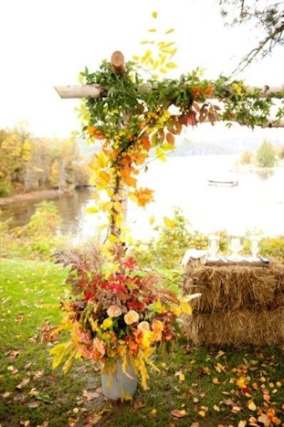 Fall altar with leaves and hay bale