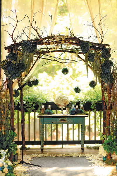 Painted table at rustic altar