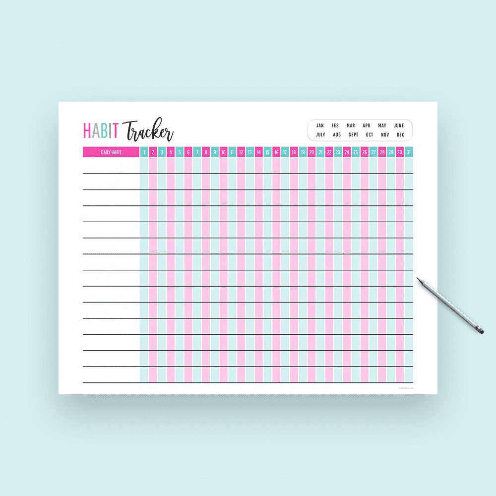 Habit tracker printable preview