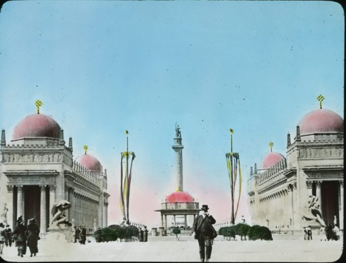 """Photograph of """"Adventurous Bowman"""" on top of the Column of Progress at the Panama-Pacific International Exposition, 1915. Local ID: 16-SFX-25."""