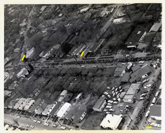Aerial Photograph of Marchers Turning Right onto West Jeff Davis Avenue
