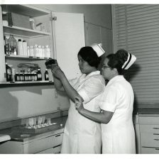 513-AS Indian School of Practical Nursing student Carol Eagle Chasing (left) and instructor Mrs. Lois Bretag (Right)