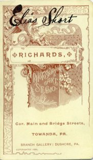 The reverse side of the card that shows the advertisement for Richards, Photographic Art Studio.