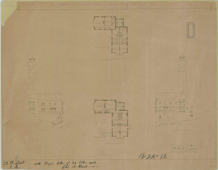 RG26: Lighthouse Plans; CA, Alcatraz Island, #12. Proposed Lighthouse, Southeast and Southwest Elevations, First and Second Floor plans, 1908. NAID: 77415650. https://catalog.archives.gov/id/77415650