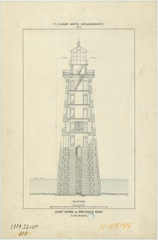 RG26: Lighthouse Drawings; MI, Spectacle Reef; #2. Section plan, vertical, 1874. NAID: 100298212. https://catalog.archives.gov/id/100298212