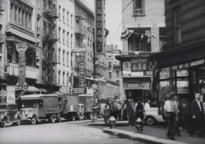 """Street scene, Chinatown, New York City. Still from outtakes from """"Metropolis."""""""