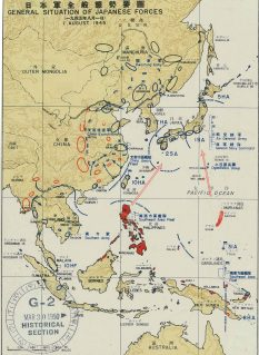 Vol. 2, Plate 163: General Situation of Japanese Forces, 1 August 1945 (completed map) NAID 50925960. https://catalog.archives.gov/id/50925960