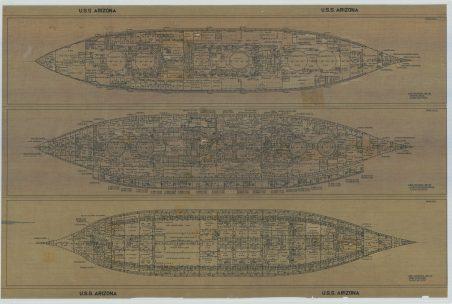 RG19: Alpha Series; USS Arizona (BB-39). Second Deck; Third & Splinter Decks; First Platform. NAID: 75840426. https://catalog.archives.gov/id/75840426