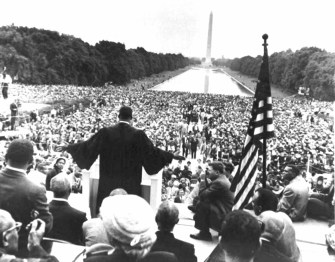 """Civil Rights Leader, Dr. Martin Luther King Jr. addresses the crowd during the March on Washington. It was during this address that he made his """"I Have a Dream"""" speech. (330-CFD-DA-SD-05-00640)"""