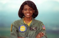 """""""ENSIGN Matice Wright, the Navy's first black female naval flight officer, poses for a photograph. Wright is assigned to Fleet Air Reconnaissance Squadron 3 (VQ-3)."""" Date Taken: May 1993 (Local ID: 330-CFD-DN-SC-93-04639)"""