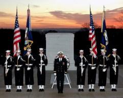 330-CFD-DN-SD-06-09571: Sailors, assigned to the US Navy's (USN) Ceremonial Guard, stand in formation in front of the Tomb of the Unknowns in Arlington National Cemetery, Virginia (VA). The Tomb contains the remains of unknown American Soldiers from World War I (WWI) and II (WWII), and the Korean War.