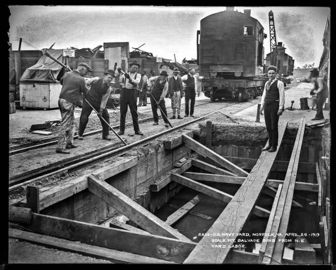 U.S. Navy Yard, Norfolk, Virginia, April 24, 1919. Scale Pit, Salvage Bins from Northeast. Yard labor. Local Identifier: 181-V-2206