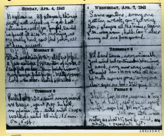 Photograph of Lt. Toner's diary. Local ID: 342-B-ND-075-4-163133AC