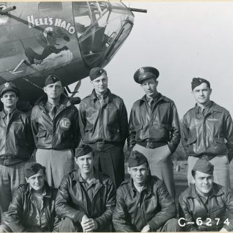 """342-FH-3A-10549 """"Cat. Everett Major Sheeler and Crew of the 322nd Bomb Squadron, 91st Bomb Squadron, 8th Air Force, in front of the B-17 Flying Fortress """"Hells Halo"""". England, 26th October 1943."""""""