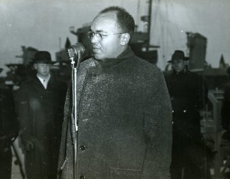 Julian D. Steele, president of the Armstrong-Hemenway Foundation, briefly addresses the crowd. Date Taken: 20 March 1944. (Local Identifier: 80-G-218855)