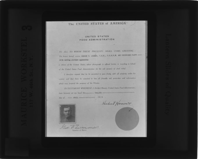 Local Indetifier: FLAX-GZ-1-Letter from Herbert Hoover, Head of the U.S. Food Administration, that George F. Zimmer carried with him to Russia.